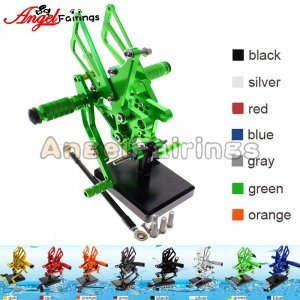 Motorcycle Triumph Speed Triple 509/595/955/1050 Rearset Foot Pegs Footrests Adjustable green